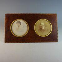 Antique Double Inlaid Burl Wood Photo Frame