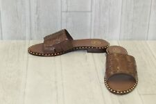 Ash Playa Studded Leather Slide Sandals, Women's Size 11M, Cacao NEW