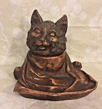 Vintage Black Forest Cat Head Inkwell
