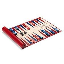 Aspinal of London Travel Backgammon Set in Berry Lizard