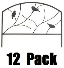 "12  Panacea 84565 24"" x 18"" Perching Birds Black Steel Garden Border Edge Fence"