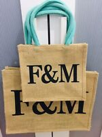 Fortnum and Mason Large & Small Jute shopping Bags x 2  -Brand New With F&M Tag
