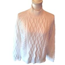 Preswick & Moore Women's White Cable Knit Mock Neck Sweater Long Sleeve Size XL