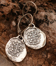 Artisan Shipwreck Treasure, Sterling Silver Spanish Reale Earrings, Atocha Coins