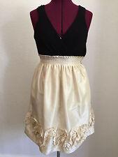 Max and Cleo Black Beige Color Block Dress Ribbon Hem Tank Top  Dress Sz 2