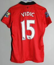 MANCHESTER UNITED 2013/2014 HOME FOOTBALL SHIRT JERSEY NIKE #15 VIDIC WOMEN Sz M