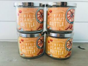 4 Bath & Body Works Candle Pumpkin Peanut Brittle 3 Wick 14.5 oz New
