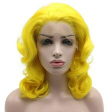 Medium Long Yellow Synthetic Lace Front Stylish Wig Heat Resistant