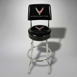 2020-Corvette 2021 C8 Bar Stool with Back Rest 688036