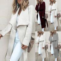 Winter Warm Women Wide Wool Lapel Coat Trench Long Parka Jacket Overcoat Outwear