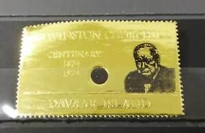 M0099 DAVAAR ISLAND !!! GOLD WINSTON CHURCHILL CENTENARY RARE OVERPRINT ST MNH