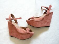 TopShop BNWT suede wedge ankle strap peep toe platform shoes/sandals 5 Cost £65