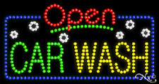 """New """"Open Car Wash"""" 32x17 Solid/Animated Led Sign W/Custom Options 25477"""