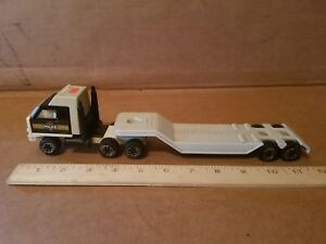 Vintage Tonka POLICE Low Boy Truck w/ Trailer 12 inches Long