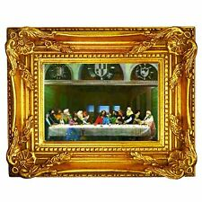 3D Lenticular Wall Decor w Gold Wood Frame 7X8 Last Supper #PK-359-FR4x6-G04#