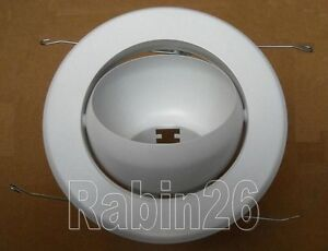 """5"""" RECESSED CAN 120V R30 LIGHT ADJUSTABLE RETRACTABLE EYEBALL CEILING TRIM WHITE"""