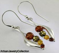 BALTIC AMBER EARRINGS 925 STERLING SILVER ARTISAN JEWELRY COLLECTION S092