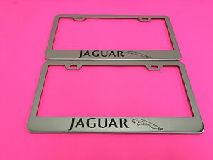 2x JAGUAR L - STAINLESS STEEL Chrome Metal License Plate Frame w/Screw caps*