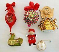 VINTAGE Christmas Tree Satin Jeweled Beaded Sequined Flocked Ornaments Lot 6