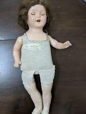 Vintage Antique Girl Doll Madam Hendren Composition Moving eyes Red Lips Teeth