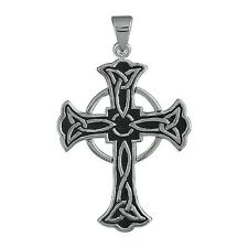 MEN'S QUALITY LARGE CELTIC CROSS PENDANT - 925 STERLING SILVER