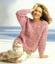 Knitting Pattern Lady's Fab Aran Cable Sampler Sweater 76-102 cm     (43)