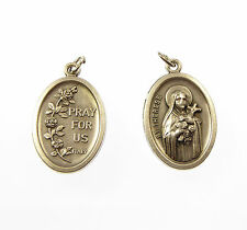 St. Therese silver metal medal rosary beads pendant Catholic 2cm Pray for us