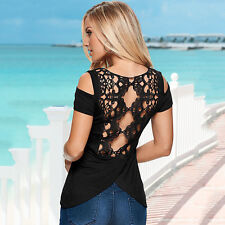 Women's Sexy Lace Back Cold Shoulder Shirts Short Sleeve Slim Blouse Top T-Shirt
