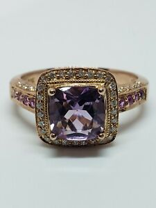 Gently Used Levian 14k Rose Gold Amethyst Pink Sapphire Diamond Ring Size 9 1/2