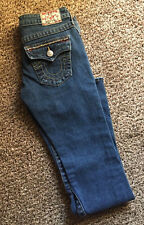 True Religion World Tour Rhinestones Flare Joey Jeans Size 25 Medium Blue