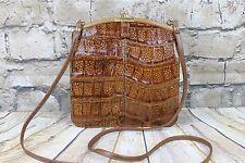 Vintage Brown Small Genuine IRV Crocodile Pouch Shoulder Bag Brass Frame