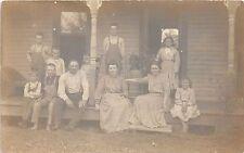 Ohio Postcard Real Photo RPPC 1911 OAK HARBOR Porch Family Kids