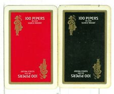 "Two Single Vintage Playing Cards ""100 Pipers"" DeLuxe Scotch Whisky"