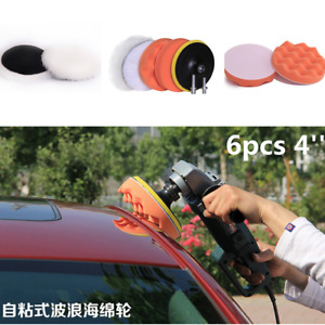 6pcs/Set 4'' Car Truck Buffing Waxing Sponge Foam Pad Buffer Drill Adapter Kit