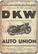 "DKW Motorcycle Auto Union Milano Italy 10"" X 7"" Reproduction Metal Sign F28"