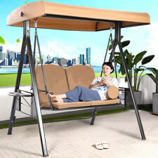 Porch Swing Hammoc-k Bench Lounge Chair Steel 2-seat Padded Outdoor W/Canopy Us