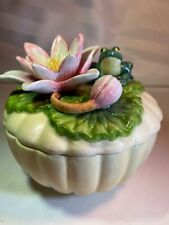 Fitz And Floyd Classics -Trinket Box With Lily Pad & Frog Turtle Inside Adorable