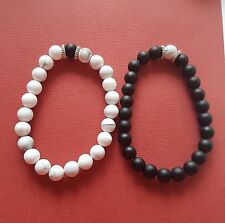 Yin Yang Bracelets 8mm Beads stretch Black Onyx White Turquoise his hers share