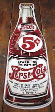 PEPSI COLA SODA POP 5¢ FIVE CENTS DRINK BOTTLE SHAPED METAL ADVERTISING SIGN