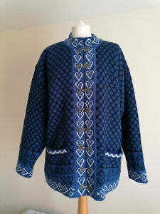 Northfjord Of Norway Wool Chunky Blue Women's Cardigan Jacket Size M Nordic