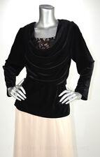 RETAIL $119 Xscape Black Draped Neck Velour Blouses Size 16 US NWT