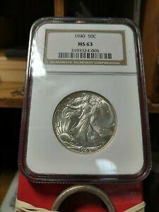 NGC MS63 1940 Walking Liberty Half Dollar Choice BU Philadelphia Mint