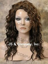HEAT SAFE HUMAN HAIR Blend Long Wavy Layered Brown Aburn Mix Full Wig WBPL 4-27