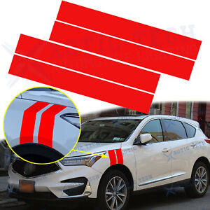 2x Glossy Red Vinyl Decals Car Sticker Side Hood Fender Double Stripes For Acura