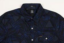 Men's VOLCOM Navy Gray Blue Short Sleeve S/S Tribal Art Shirt L Large NWT NEW