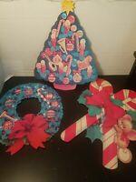 Vintage Christmas Eureka Die Cut  Cardboard Double Sided Decorations Lot of 3