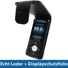 Schwarz Echtes Leder Tasche für Apple iPod Nano 5G 5te Gen 8GB 16GB Hülle Case