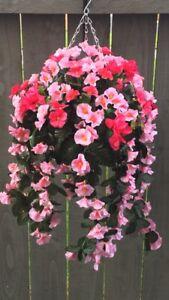 Beautiful Artificial  Pink / Hot Pink Trailing Hanging Basket