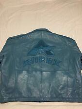 MINT Vtg 90s Avirex Men's 6XL Leather Carolina Baby Blue Big Logo Bomber Jacket
