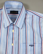 HENRI LLOYD Mens Shirt Top Size M Medium Striped Blue Pink Logo Authentic VGC